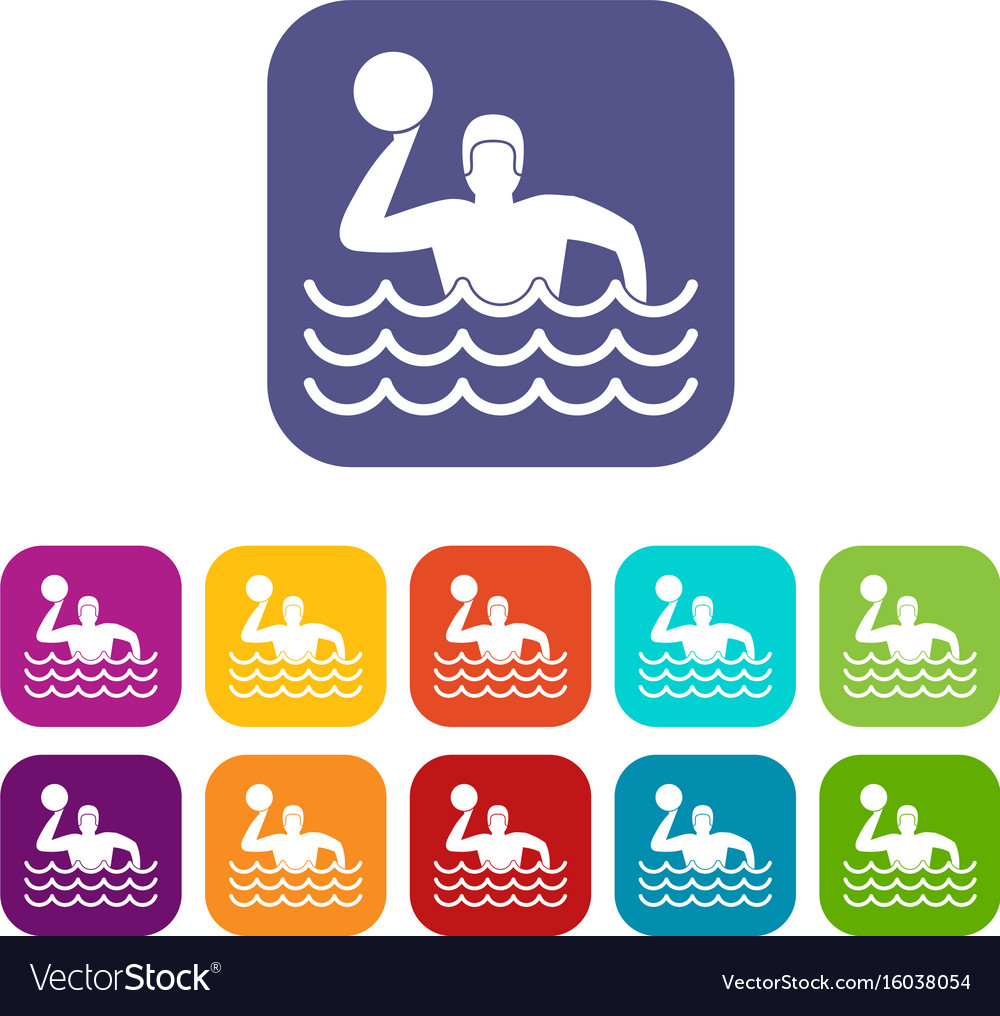 Water polo icons set