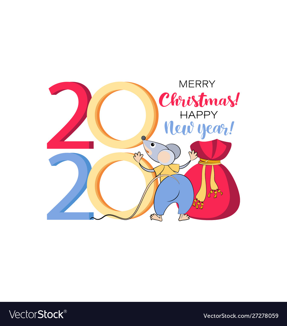 Funny Merry Christmas 2020 2020 merry christmas happy new year funny rat Vector Image