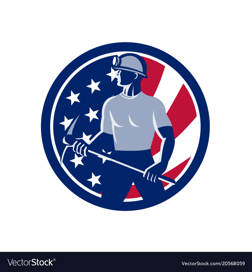 American coal miner usa flag icon vector image