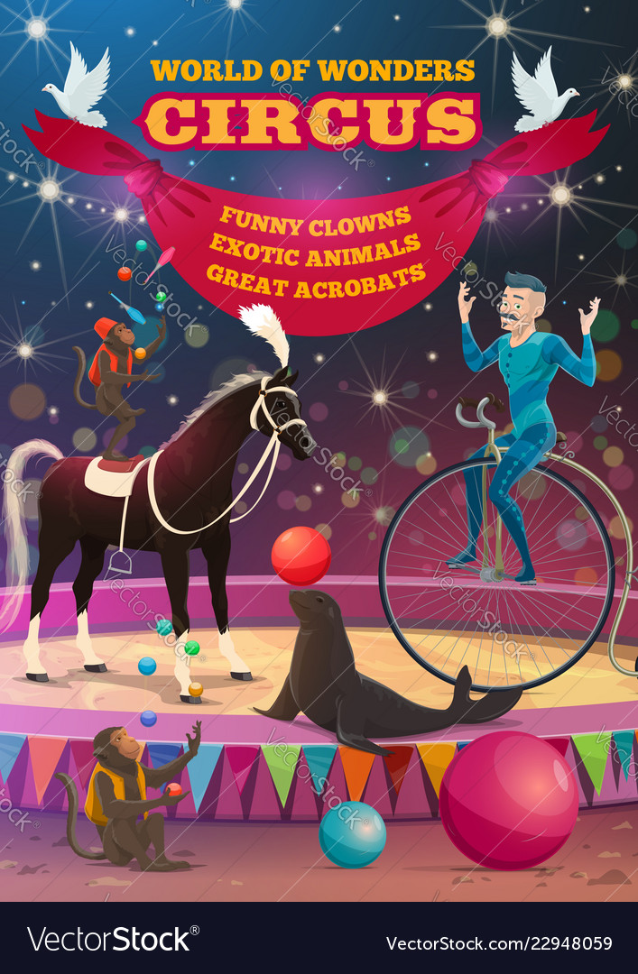 Big top circus acrobat equilibrist animals show