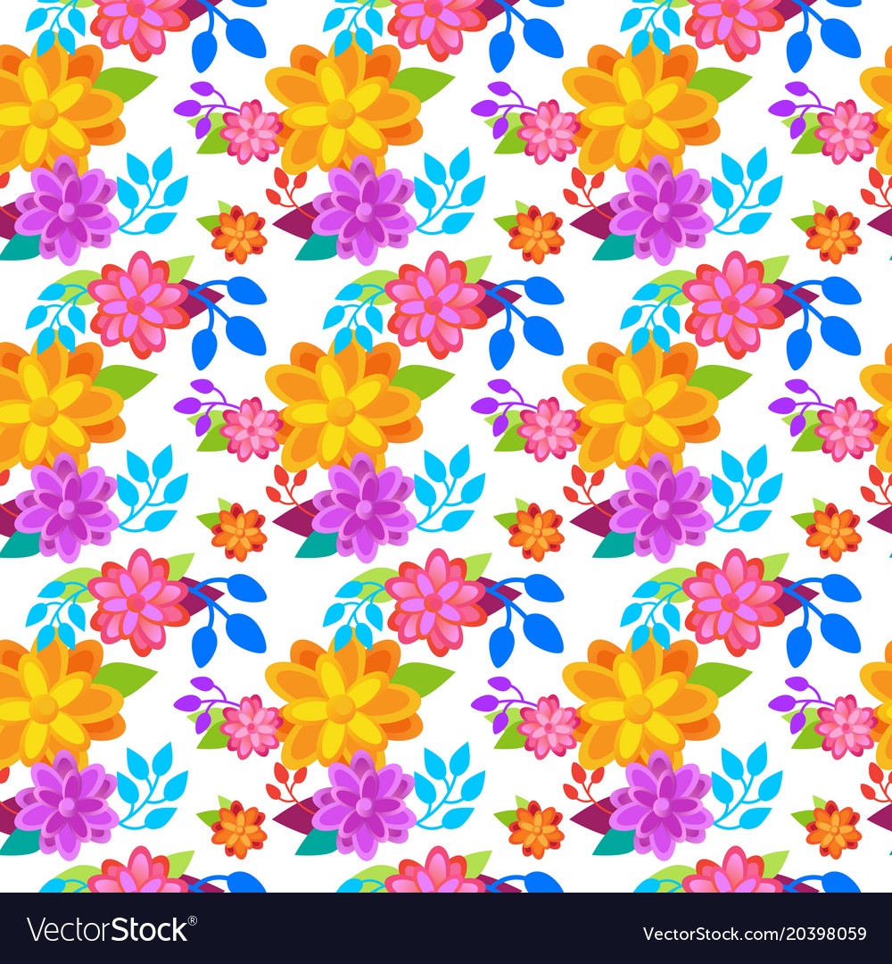 Bright flowers background seamless pattern spring
