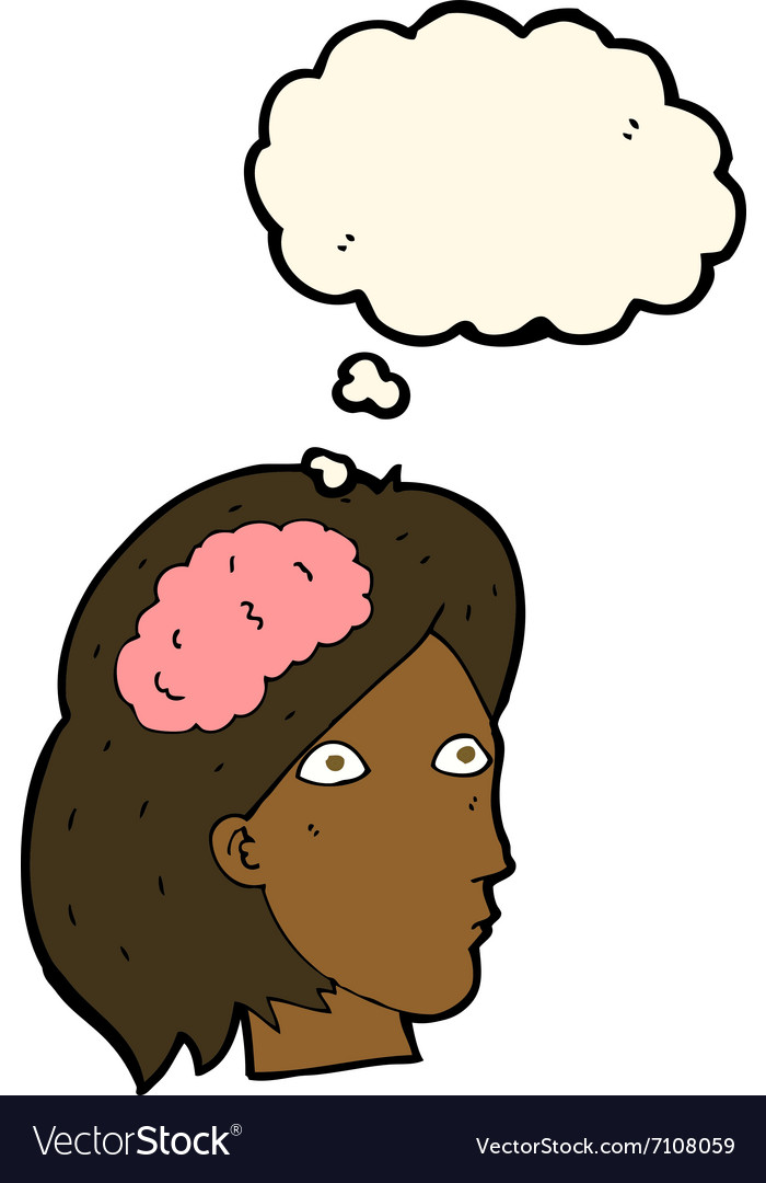 Cartoon female head with brain symbol with thought