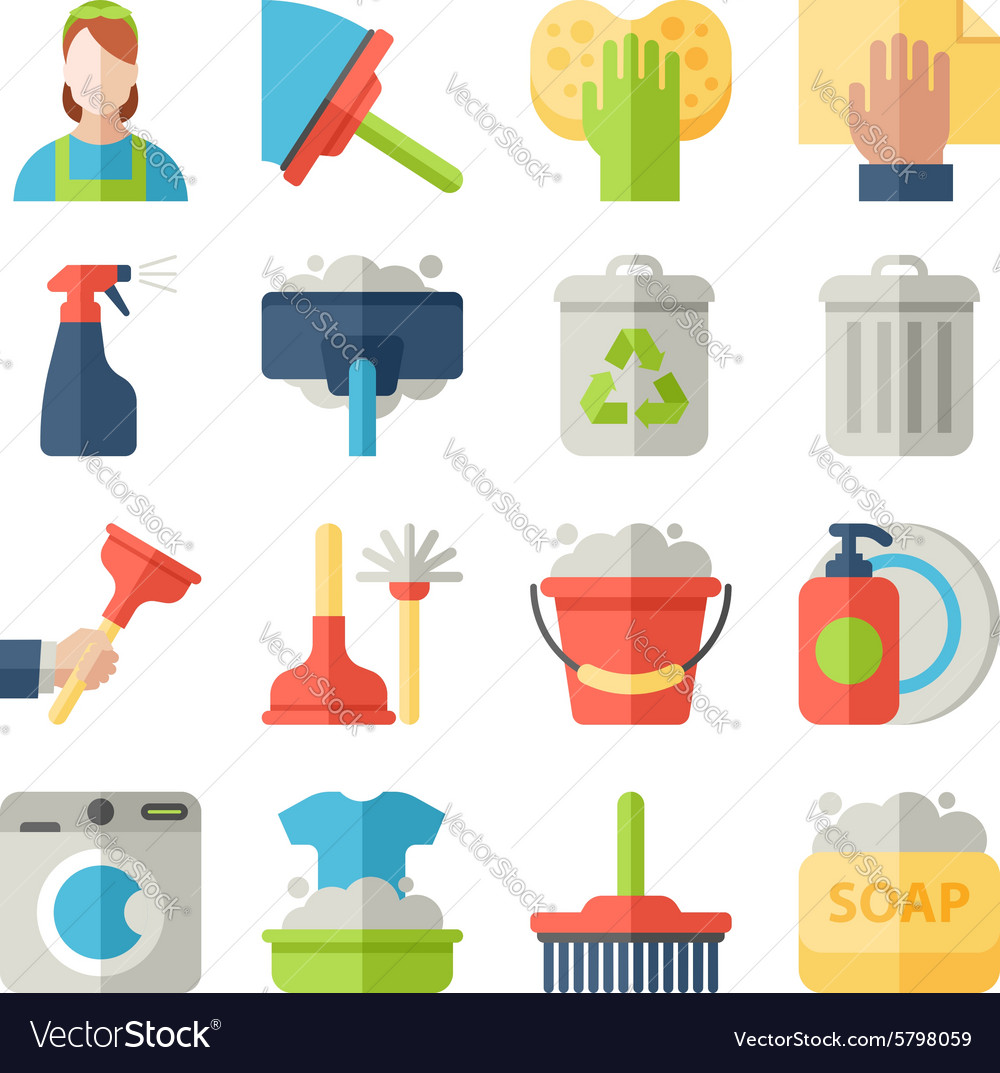Cleaning icon set isolated with windows dishes