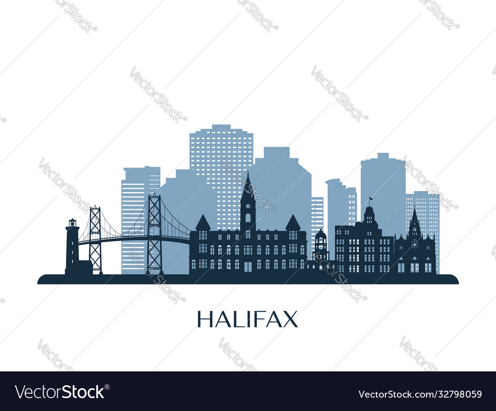 Halifax skyline monochrome silhouette