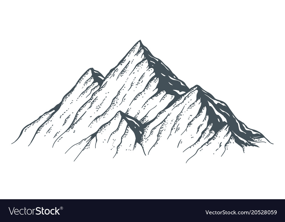 Hand Drawn Mountain Royalty Free Vector Image Vectorstock