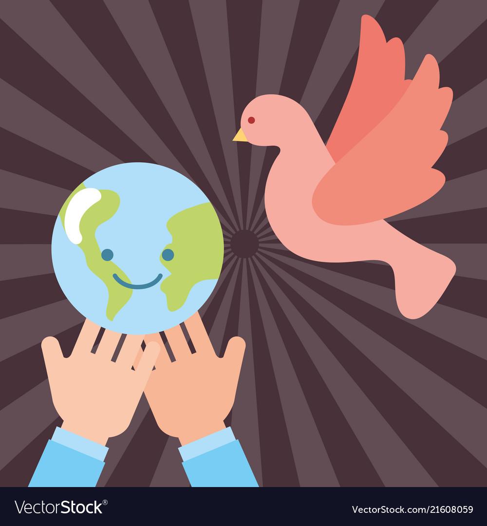 Hands with kawaii world peace pigeon flying