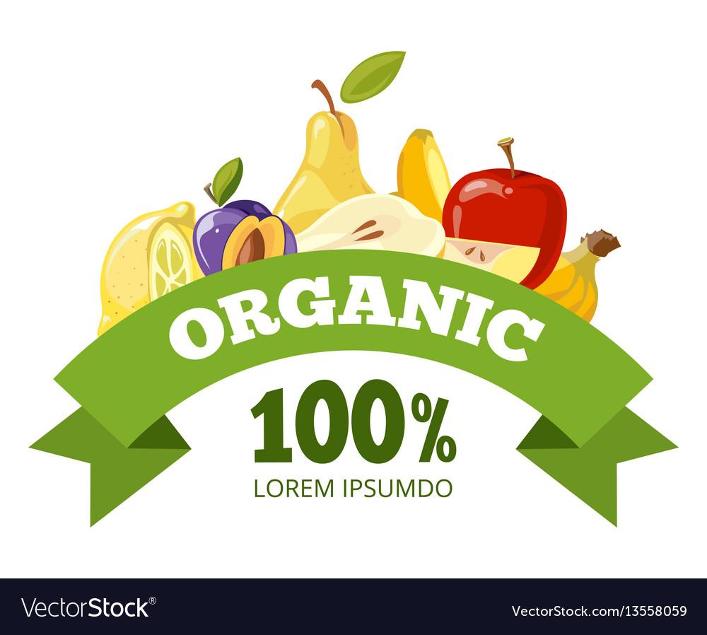 Natural fresh food fruits logo badge vector image