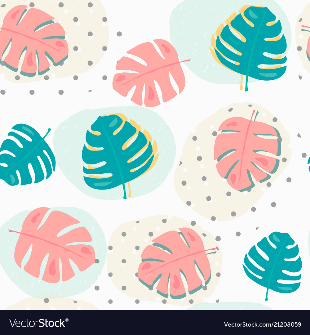 Pastel tropical summer leafs pattern seamless