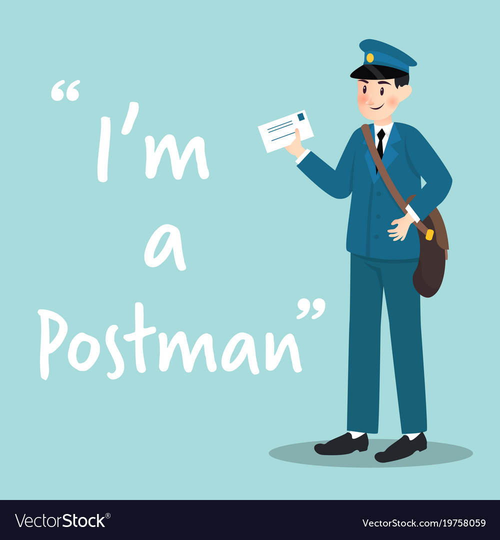 Postman character with letter on sky blue vector image