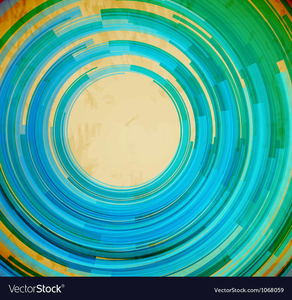 Retro blue swirl shape abstract background vector image
