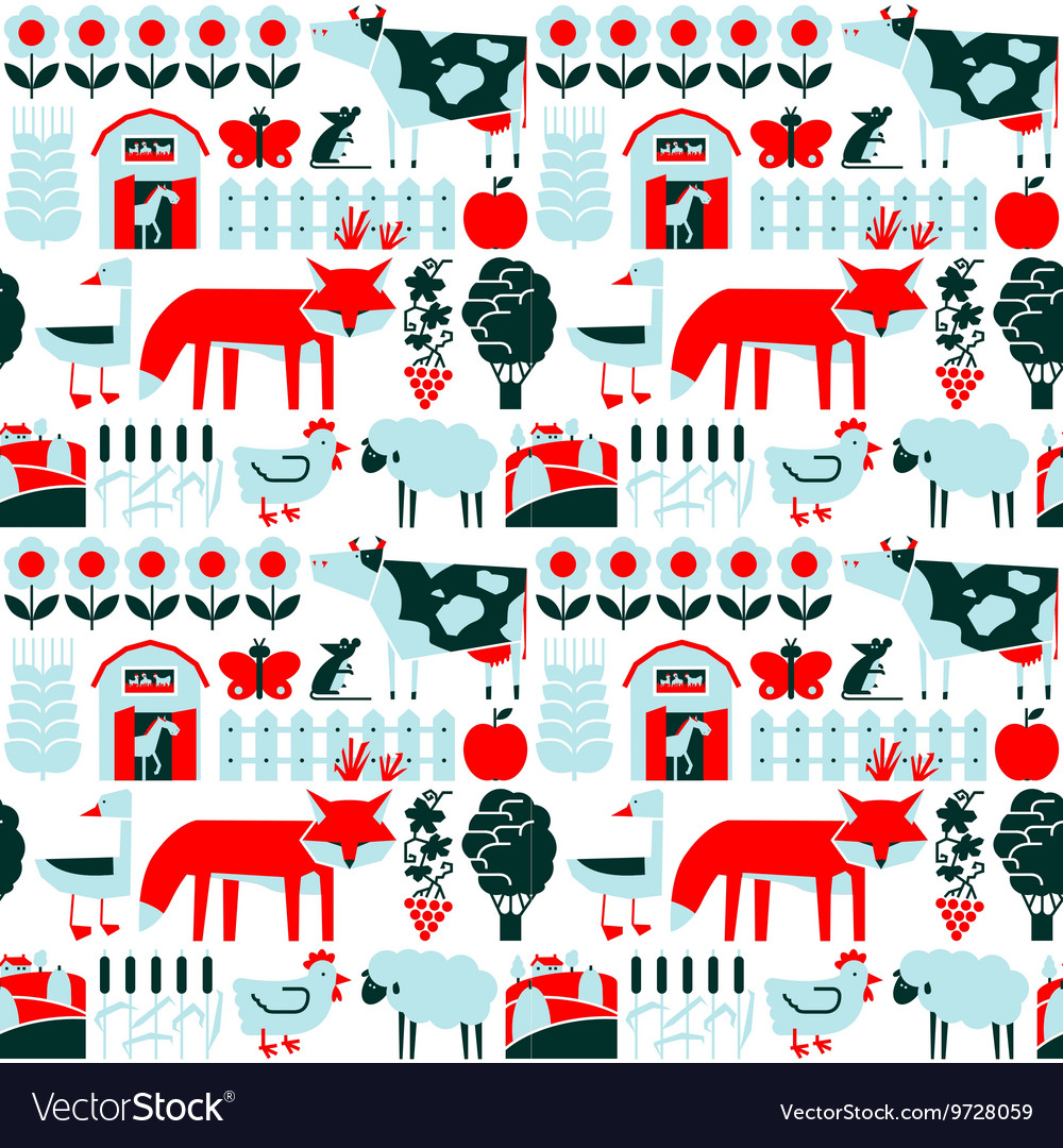 Seamless pattern with farm and animals