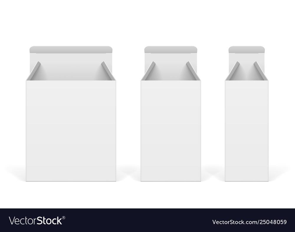 Set white cardboard boxes mockups