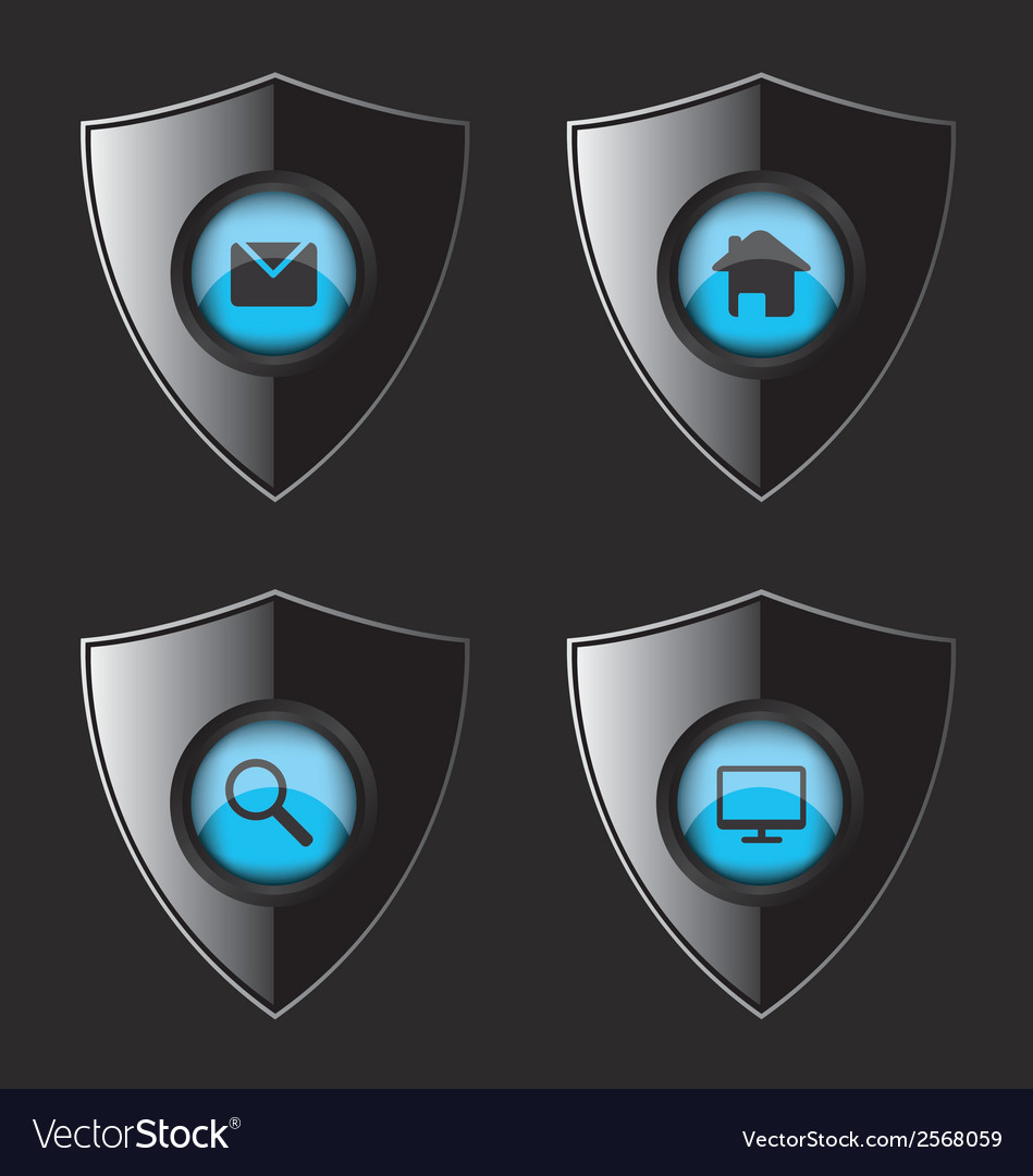 Shield web flat icons vector image
