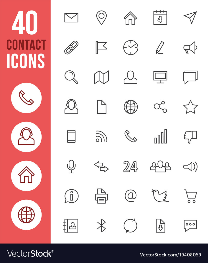 Social media thin line icons and contact
