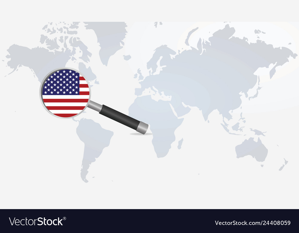 Usa flag in magnifying glass