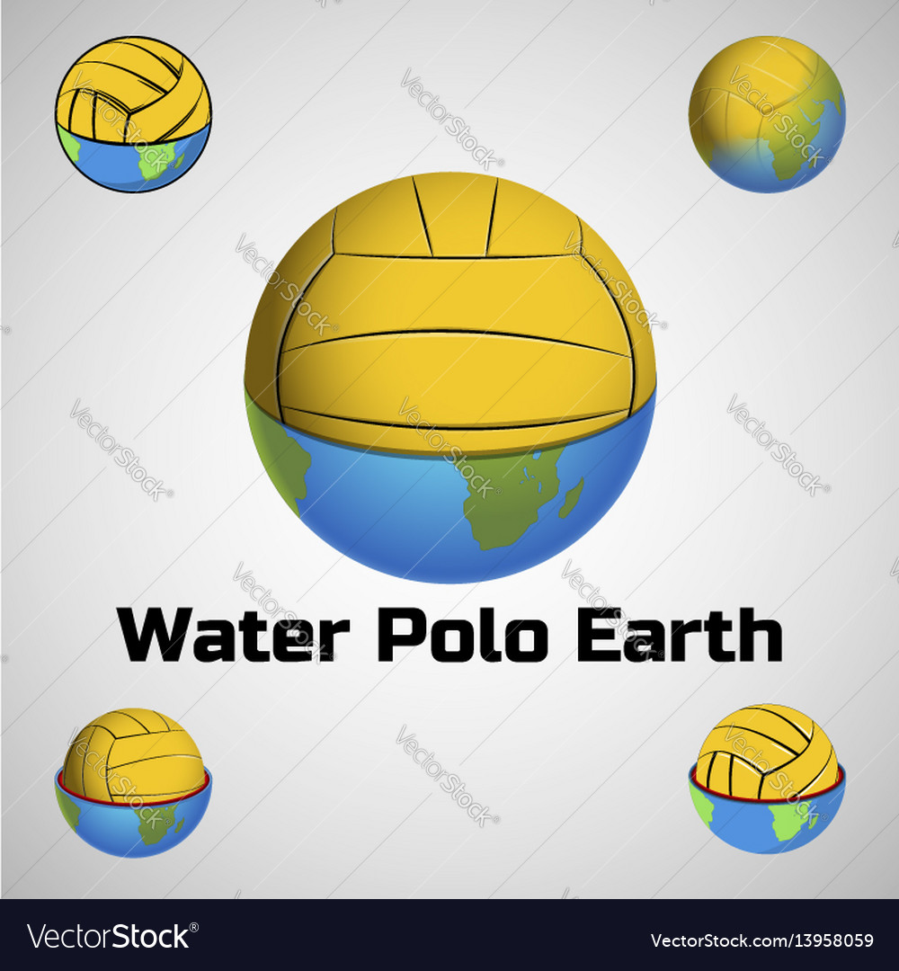 Water polo earth logo for the team and the cup vector image