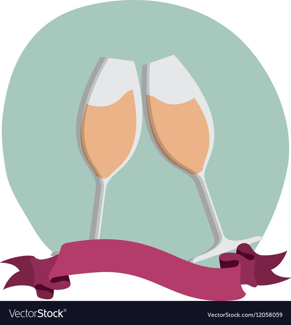 Wine glass decorative frame vector image