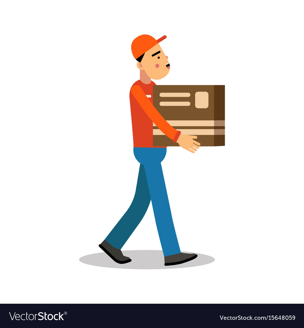 Worker mover man holding and carrying cardboard