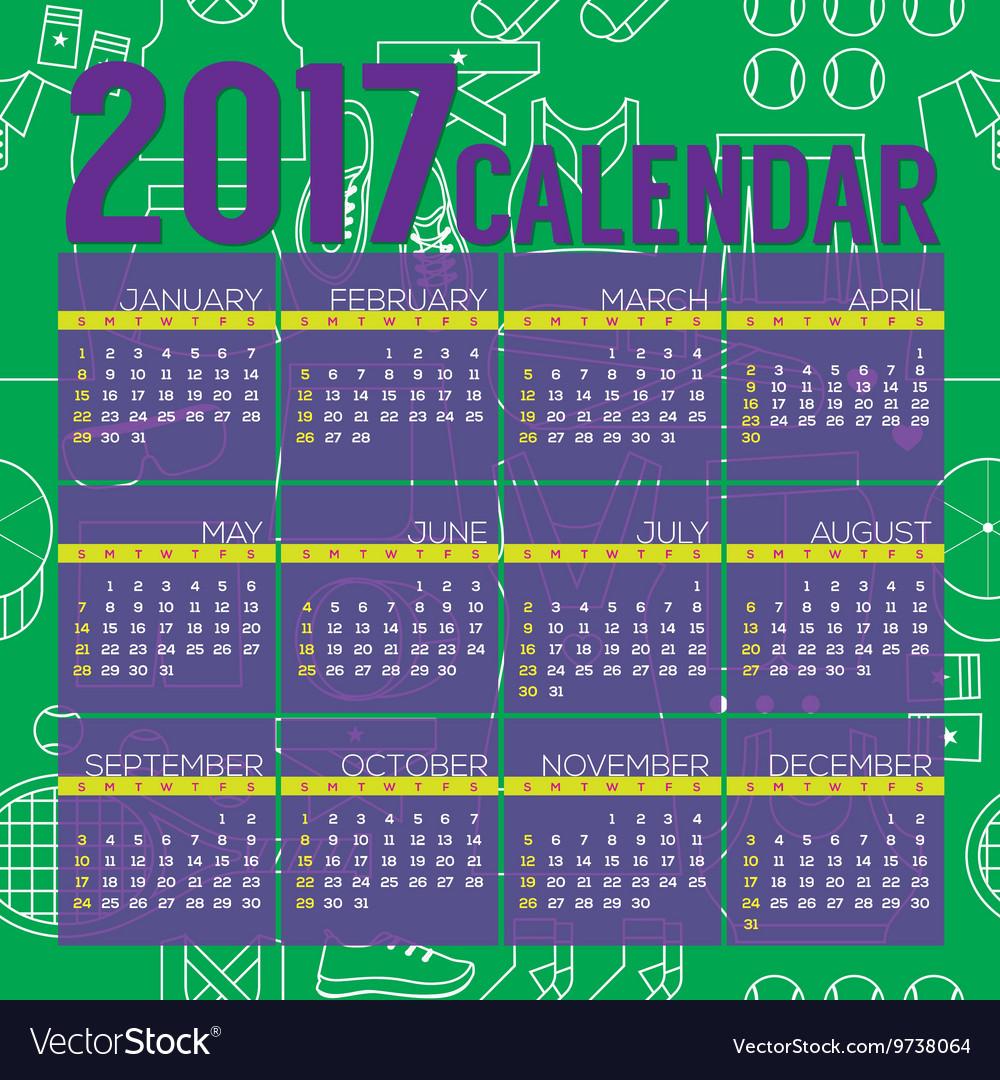 2017 Printable Calendar Tennis Graphic