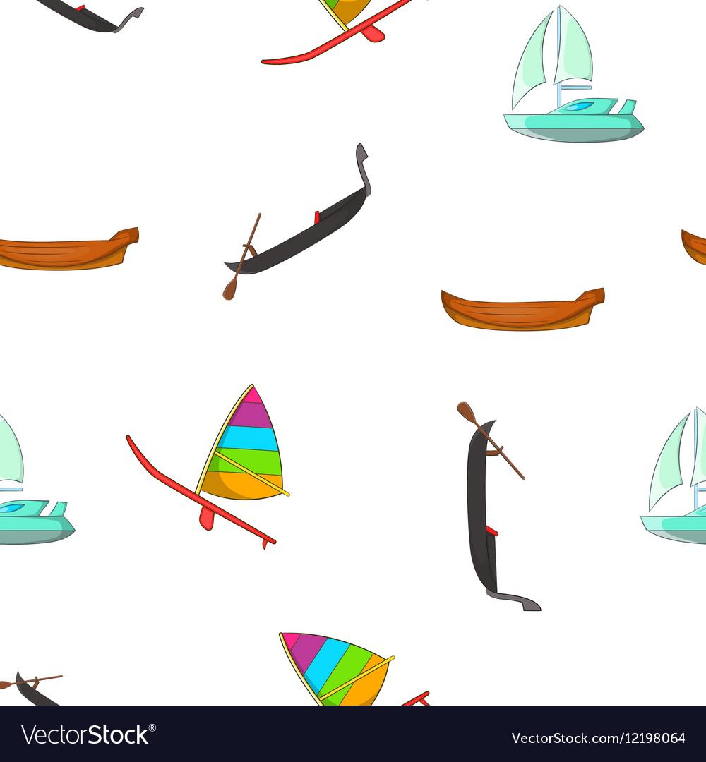 Boats pattern cartoon style
