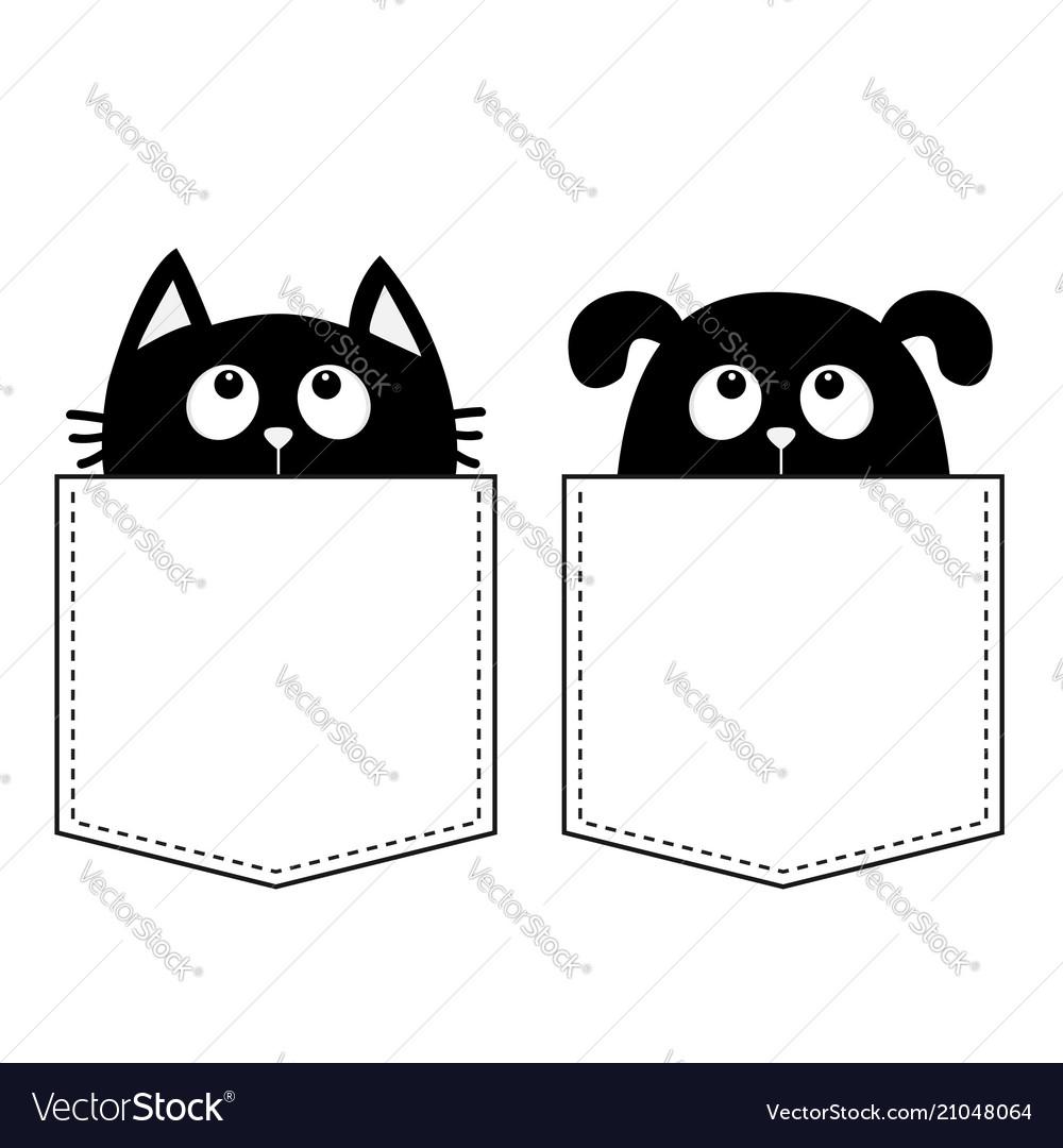 Cat dog in the pocket cute cartoon animals kitten