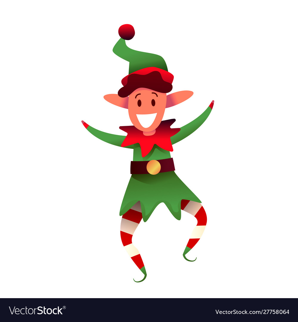 Cheerful elf character in green hat