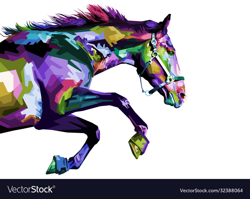 Colorful horse running isolated on white