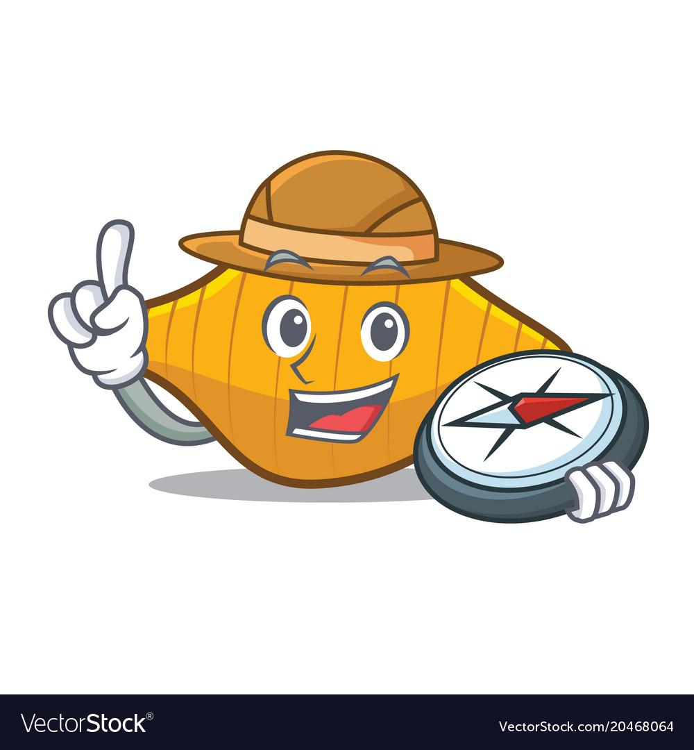Explorer conchiglie pasta mascot cartoon