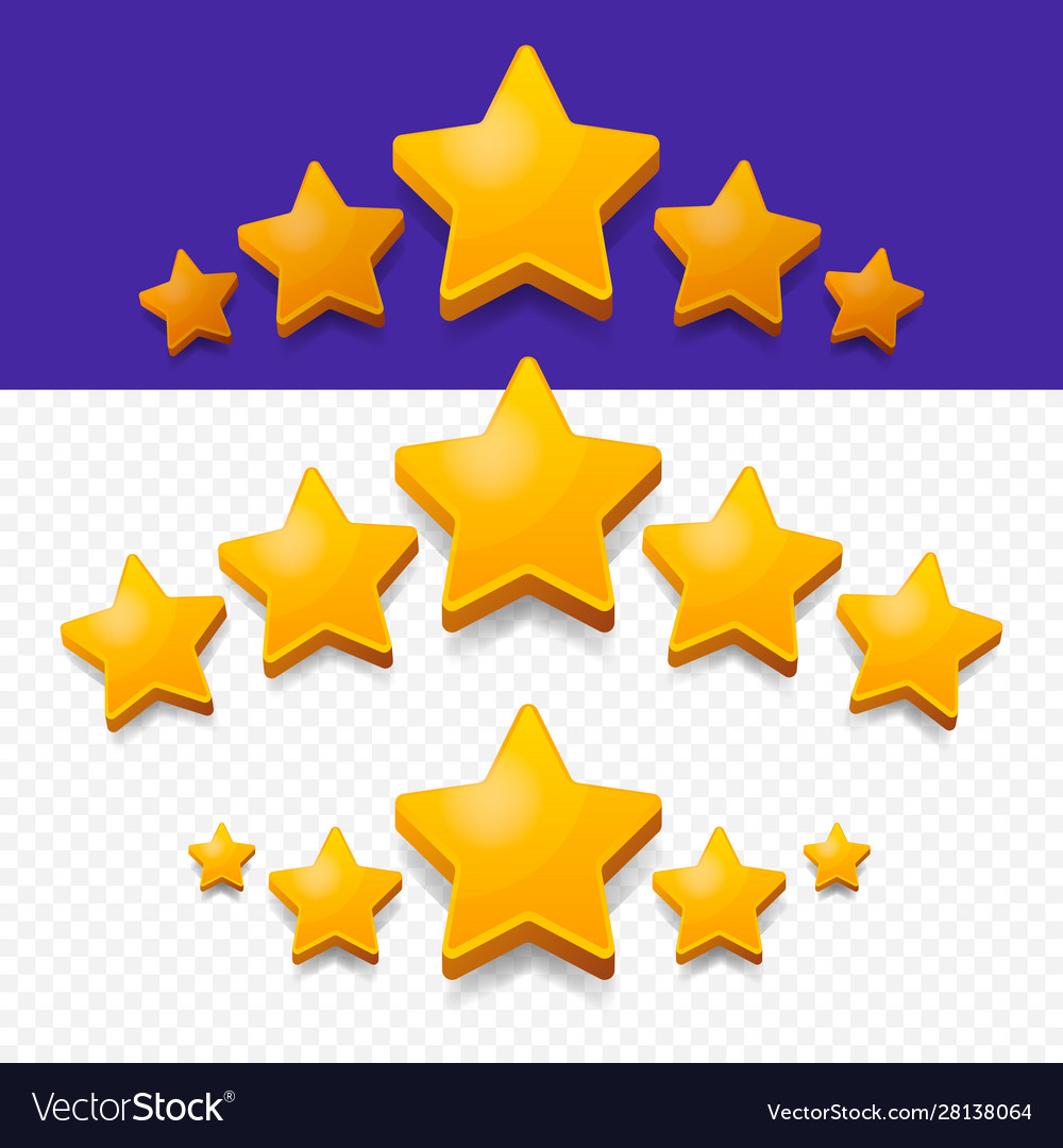 Five stars rating gold icon 3d cartoon game