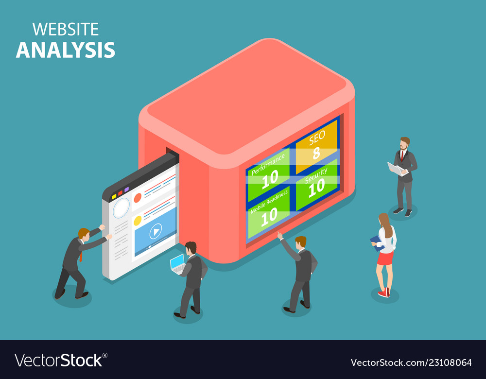 Flat isometric concept of website data