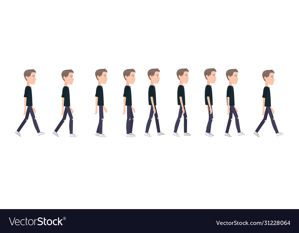 Full cycle gait animation a boy