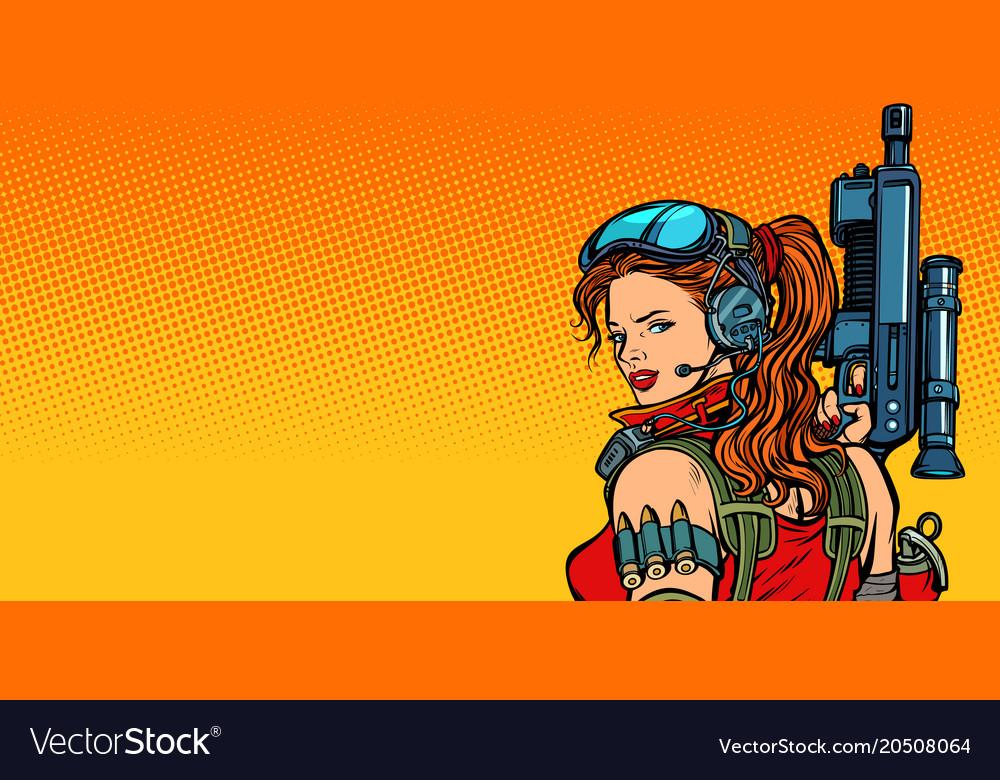 Futuristic woman with guns close-up