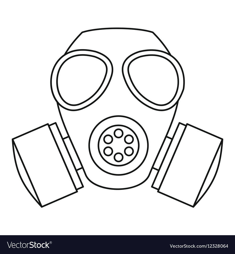 Gas mask icon outline style Royalty Free Vector Image