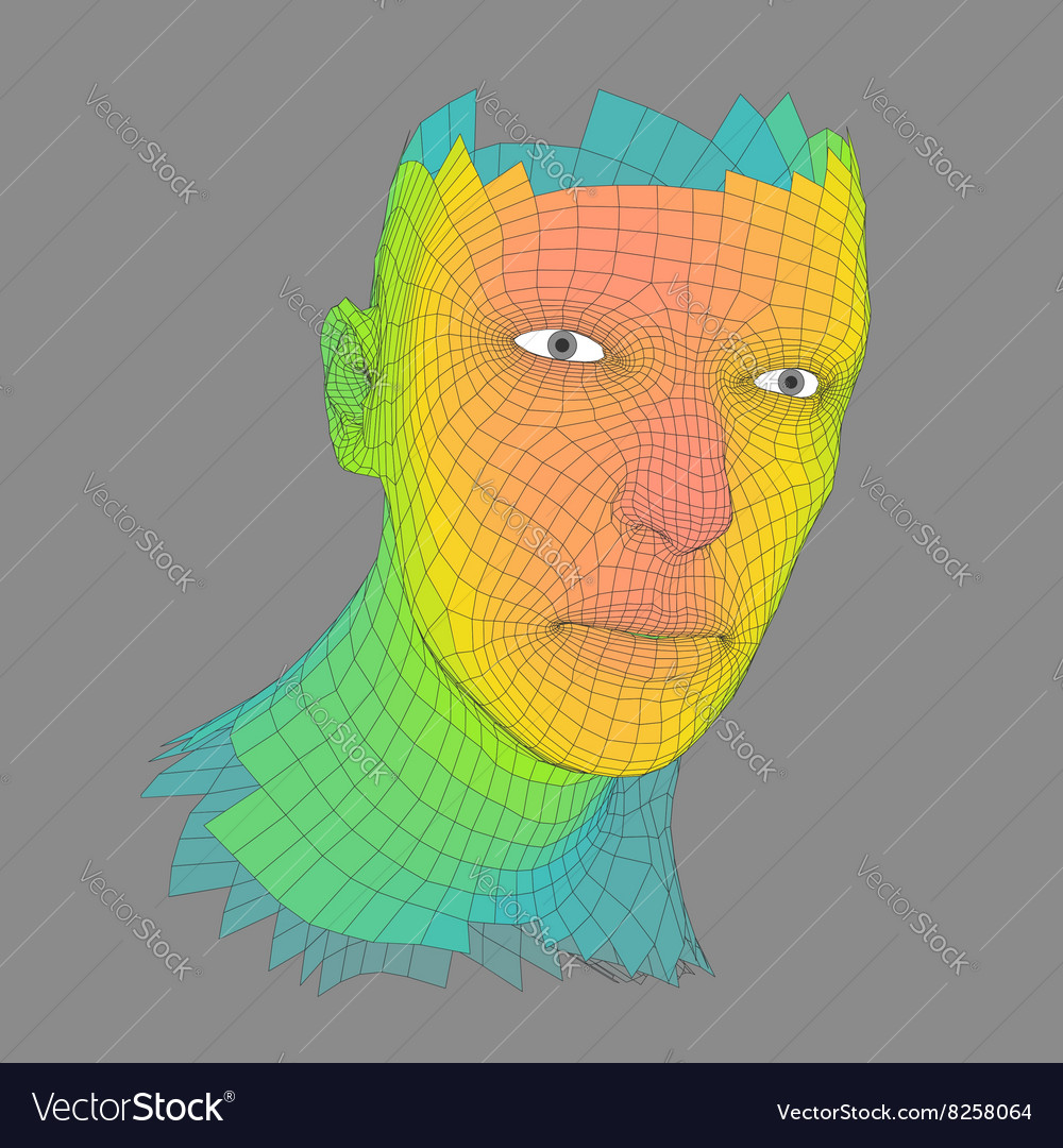 Head person from a 3d grid human head