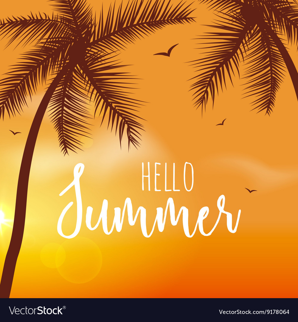 Hello Summer Lettering vacation and travel