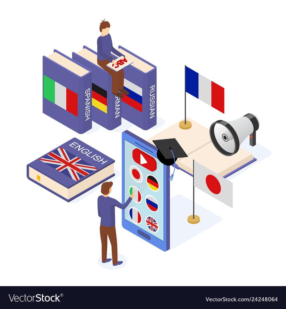 Language school infographics concept 3d isometric