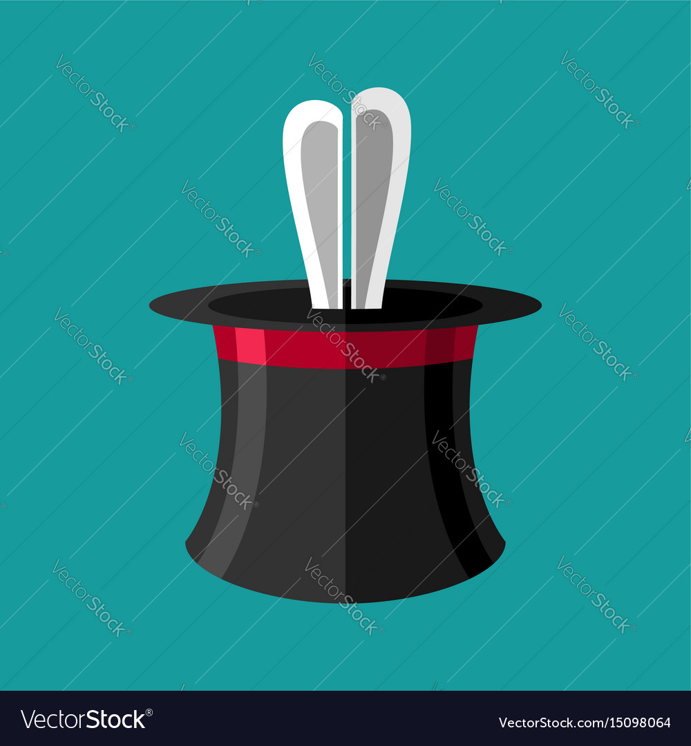 Magic trick rabbit in hat magical cap and bunny