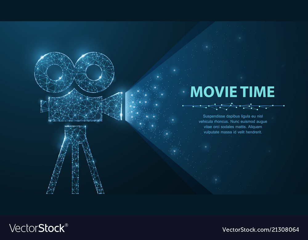 Polygonal wireframe movie projector show film at