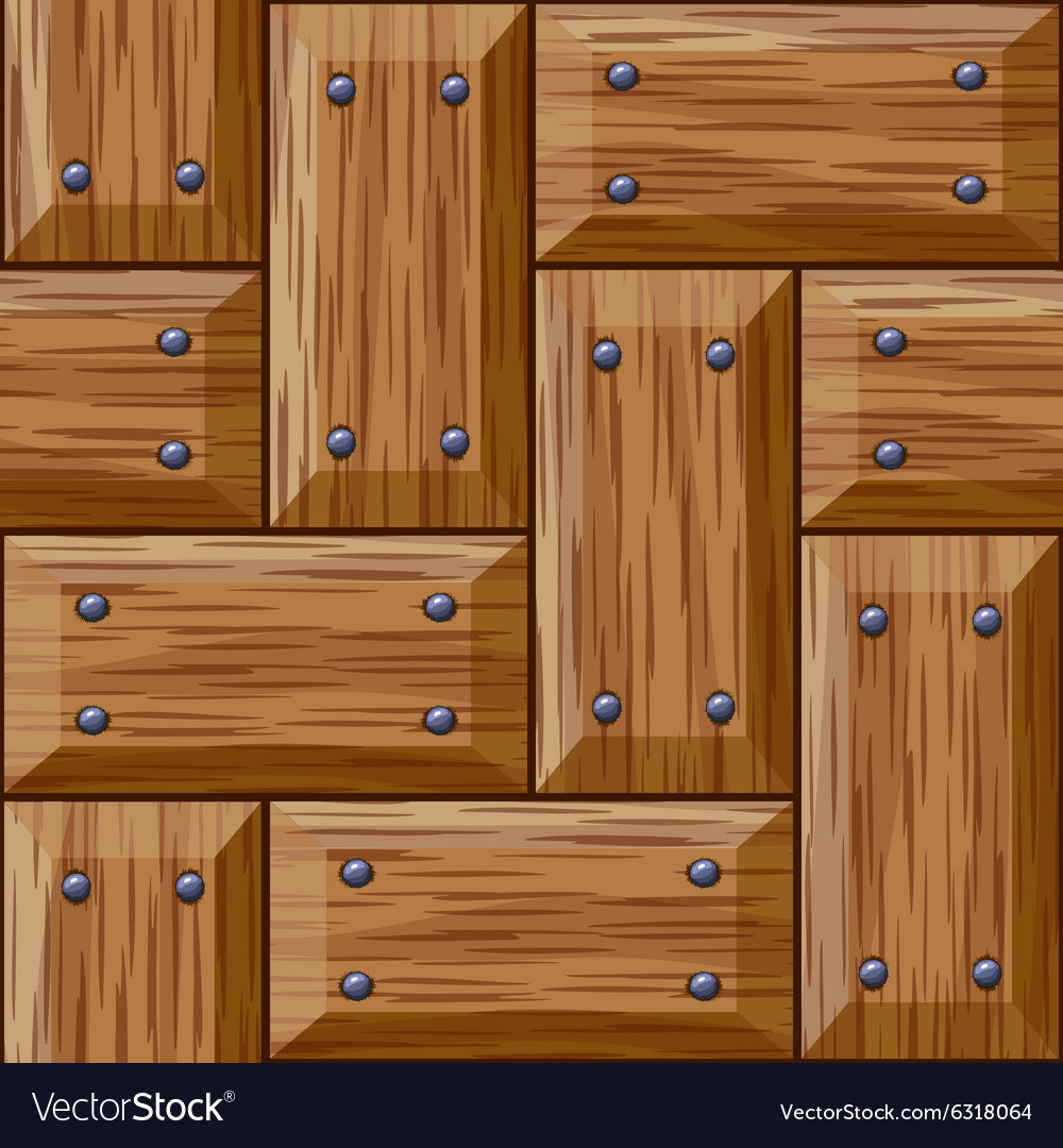Seamless Wooden Panel Door Texture With Nails Vector Image