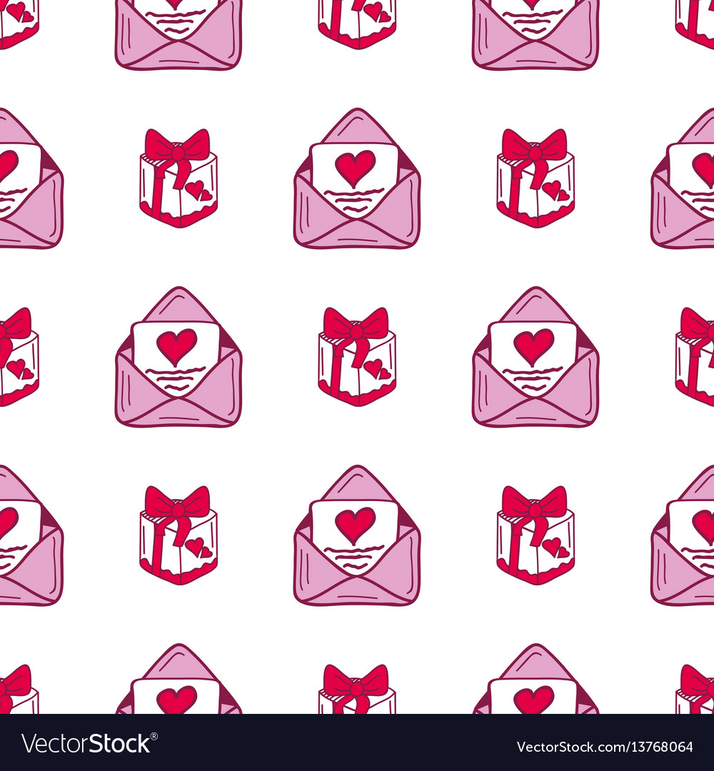 Simple red heart mail sharp seamless