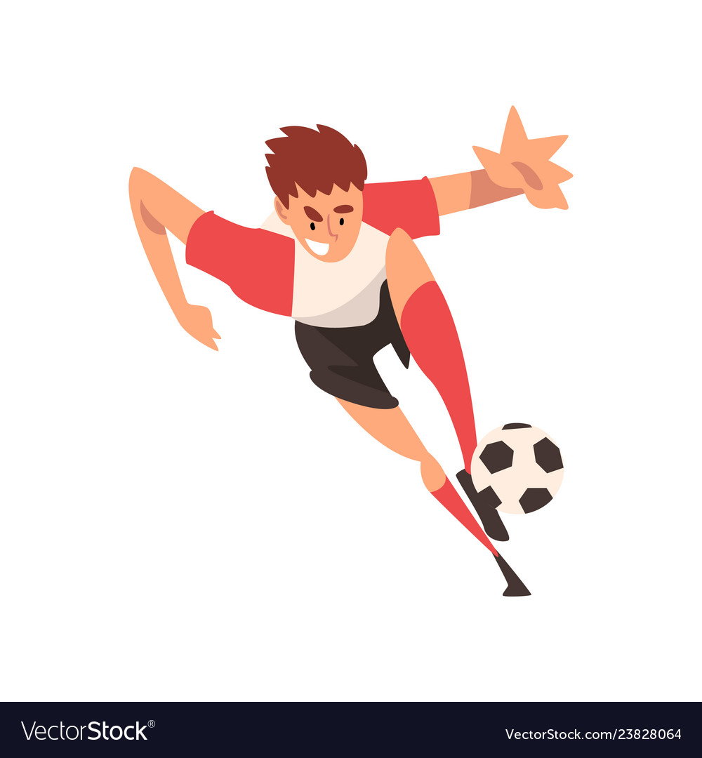 Soccer player kicking ball football player