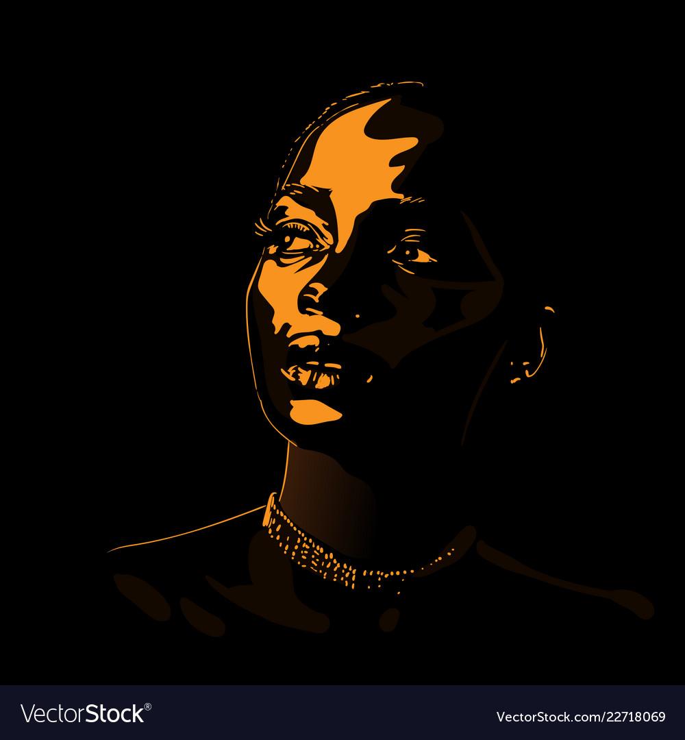 African woman portrait silhouette in backlight