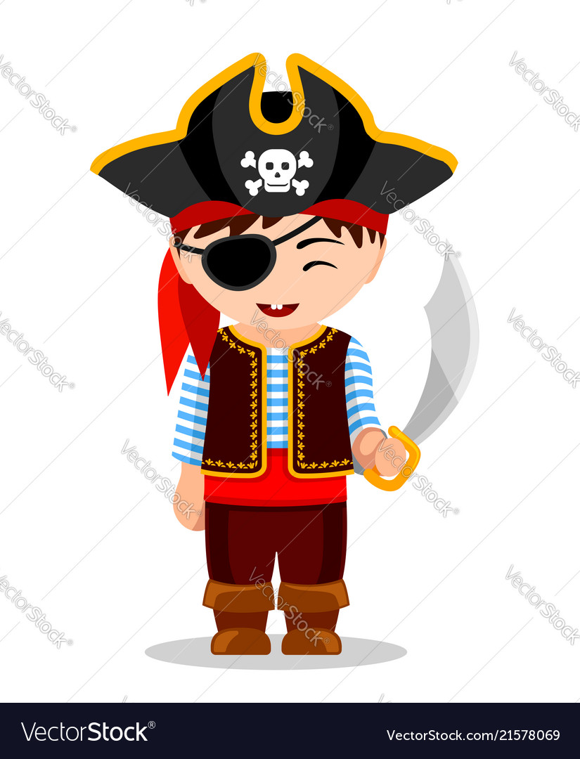 Cartoon pirate cute little kid in costume