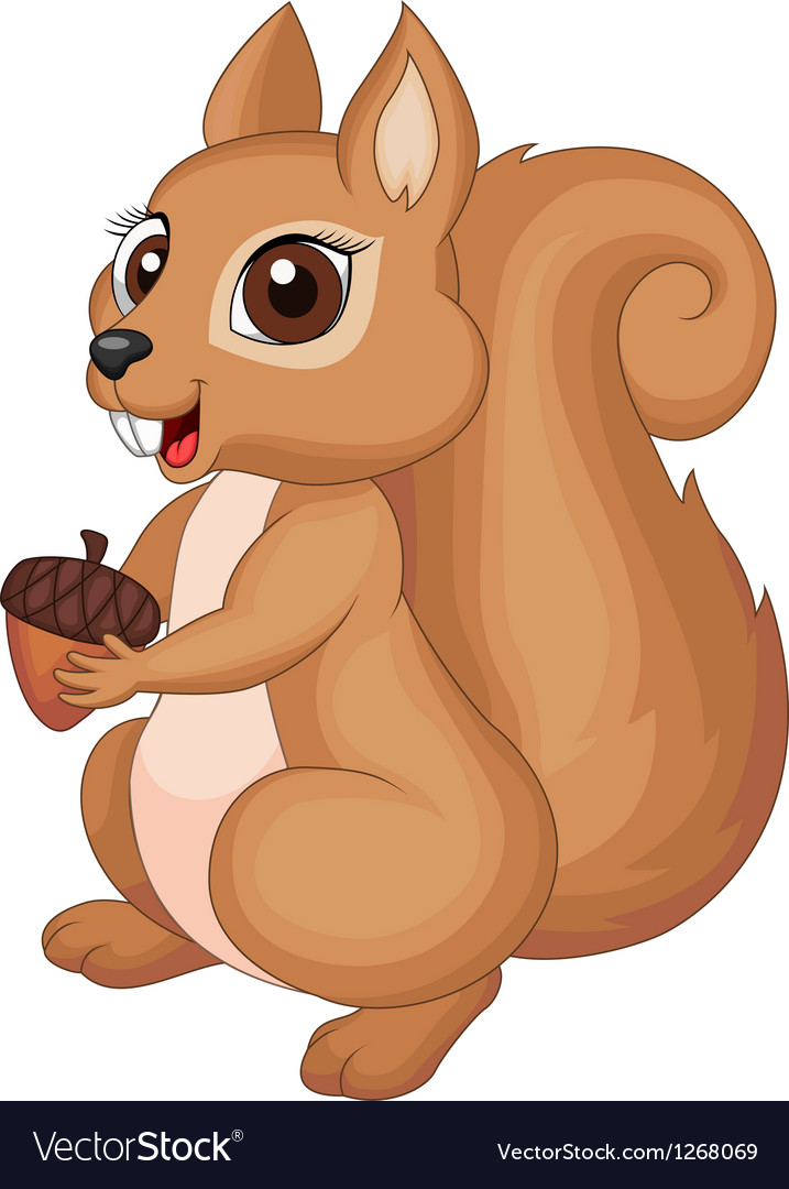 Cute cartoon Squirrel holding a corn vector image