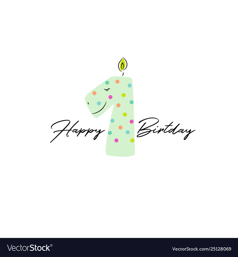 First birthday dino candle card design template