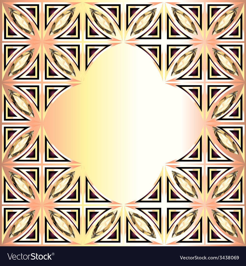 Golden background with geometric designs and preci