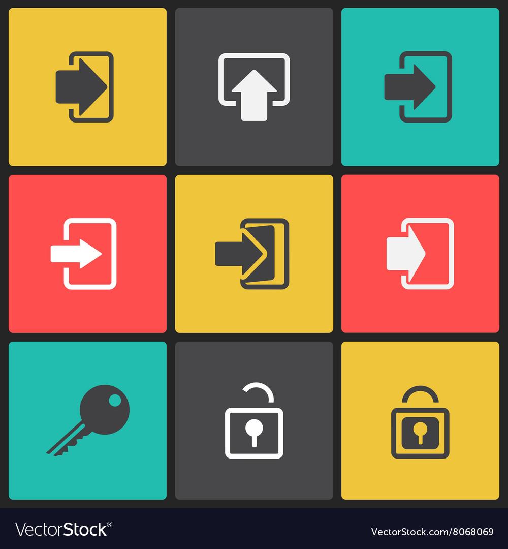 Login web icon set vector image