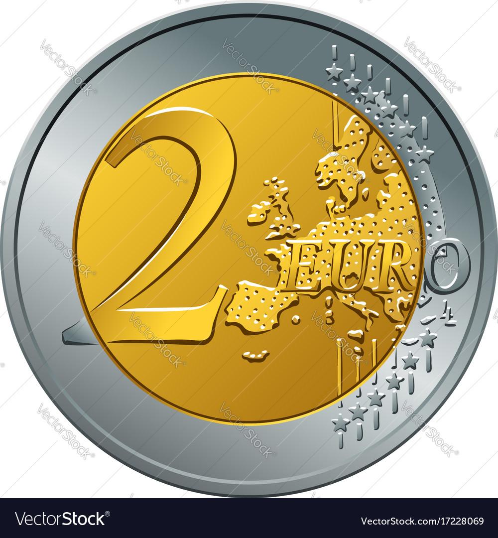 Money gold coin two euro vector image