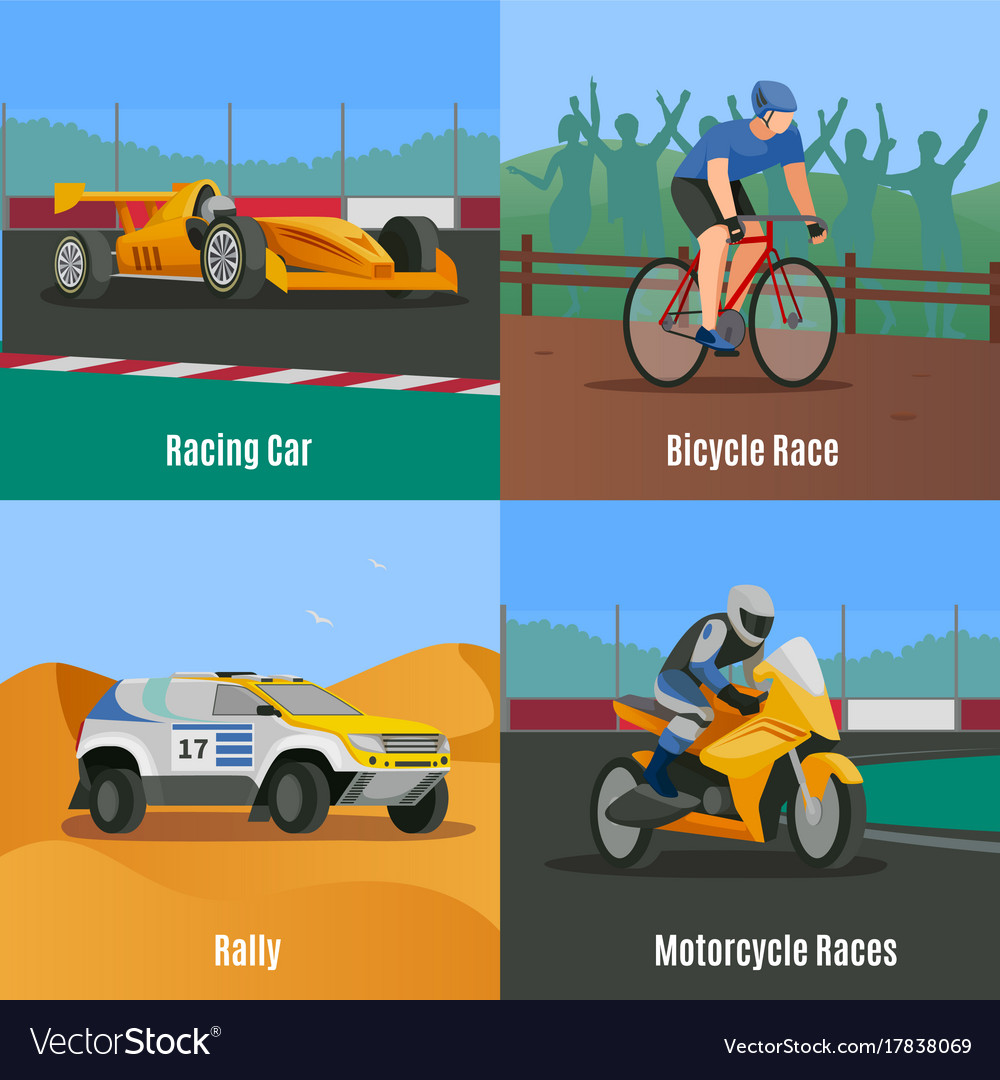 Racing Flat Design Concept Royalty Free Vector Image