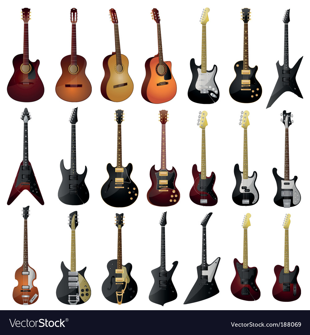 Set of isolated guitars